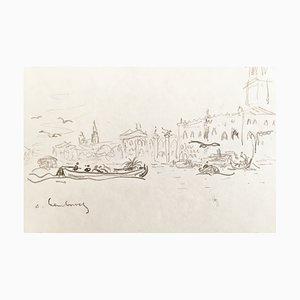André Hambourg, Navaire Devant San Giorgio, Venise, 1977, Originale Zeichnung, Signiert