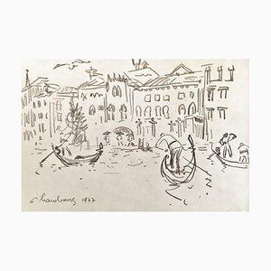 André Hambourg, Gondoliere Sur Le Grand Canal, Venise, 1977, Originale Zeichnung, Signiert