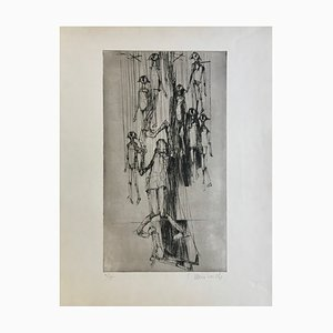 Claude Weisbuch , Le Marionnettiste, 1950 , Original Signed Drypoint