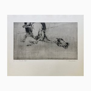 Claude Weisbuch , Le Cheval Mort, 1950 , Original Signed Drypoint