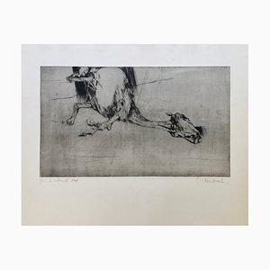 Claude Weisbuch, Le Cheval Mort, 1950, signierter Vintage Brennpunkt
