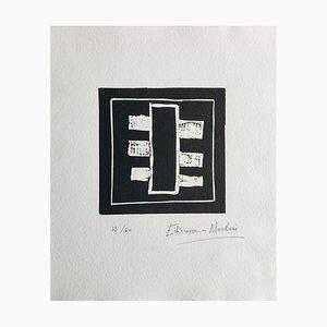 Etienne Martin , Cadran Natal Ii, 1990 , Linogravure original signature Au Crayon