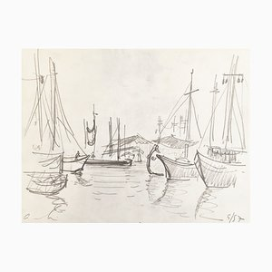 André Hambourg , Boats in Venice, 1957 , Original Signed Drawing