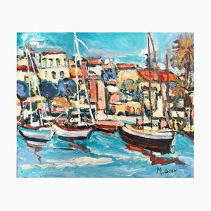 Marie Sion , Sailboats in the Small Harbor , Oil on Canvas Signed
