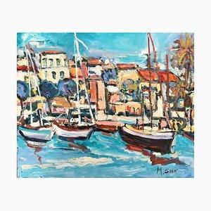 Marie Sion, Segelboote im Kleinen Hafen, Öl auf Leinwand Signiert