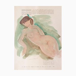 Simon-Auguste, Nude, 1954, Watercolor