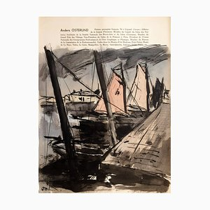 Anders Osterlind , Boats at Dock, 1954 , Watercolor Signed in Pencil