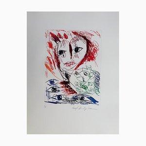 Carl-Henning Pedersen, Living Bird VI, 1995, Etching