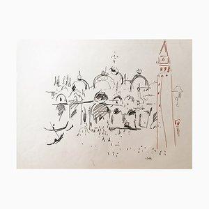 Charles Malle, Saint Marc Basilika und der Glockenturm, Venedig, 1995, Zeichnung
