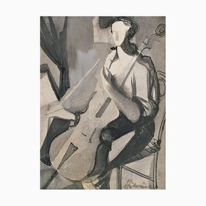 Camille Hilaire, the Cellist, 1950, Ink on Paper