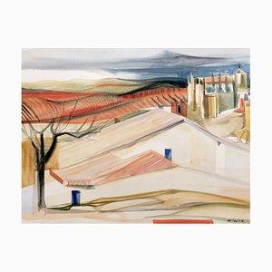 Camille Hilaire, viti in Provenza, anni '50, acquerello