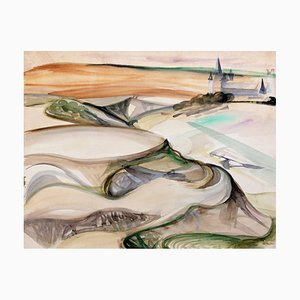 Camille Hilaire, Landscape from Spain, 1950s, Watercolor