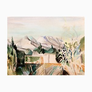 Camille Hilaire, Montagne Sainte Victoire, 1950s, Watercolor