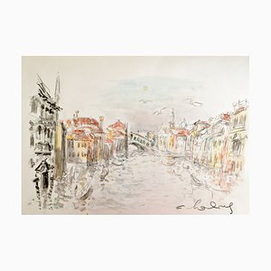 André Hambourg, the Grand Canal, Venice, 1980, Watercolor