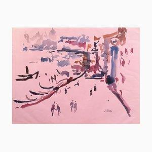 Charles Malle, Riva degli Schiavoni, Venice, 1995, Watercolor