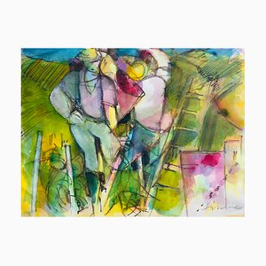 Camille Hilaire, Champagne Harvest, 1994, Watercolor