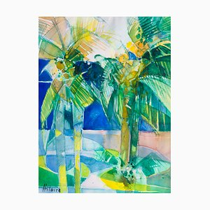 Camille Hilaire, the Gardens of the Majestic, Cannes, 1985, Watercolor