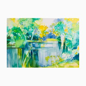 Camille Hilaire, Edge of the Epte in Spring, 1992, Watercolor