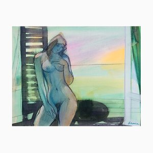 Camille Hilaire, Nude at the Window, Trouville, 1990, Watercolor