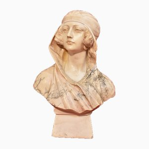 Adolfo Luchini, Sculpture of a Woman, 19th-Century, Alabaster and Marble