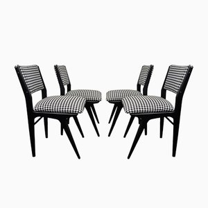 Danish Black Lacquered Chairs, 1960s, Set of 4