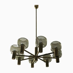 Large Mid-Century 8-Arm Brass & Glass Chandelier by Hans-Agne Jakobsson