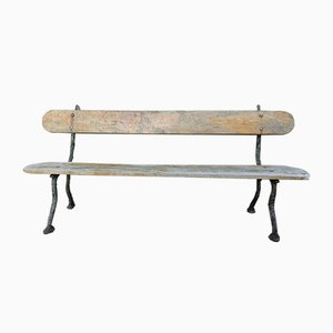 Antique Oak Bench with Cast Iron Legs