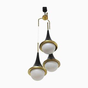 Opalglas Deckenlampe von Stilnovo, 1950er