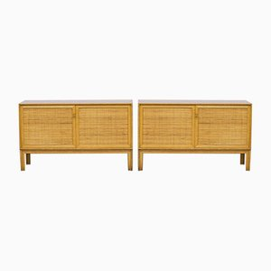 Sideboards in Oak and Rattan by Alf Svensson for Bjästa, 1960s, Set of 2