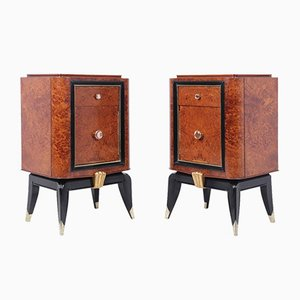 French Art Deco Amboyna Bedside Cabinets, 1920s, Set of 2