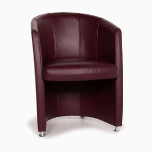 Dark Red Leather Armchair from Rolf Benz