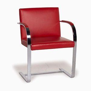 Red Leather Brno Chair from Knoll International
