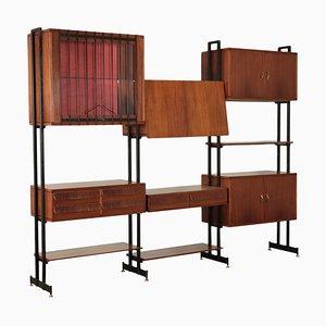 Italian Mahogany Veneer & Metal Bookcase Cabinet, 1950s