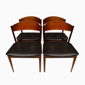 Mid-Century Teak & Black Leatherette Dining Chairs from Jysk Møbelfabrik, Set of 4