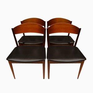 Mid-Century Teak & Black Leatherette Dining Chairs from Jysk Møbelfabrik, Set of 4