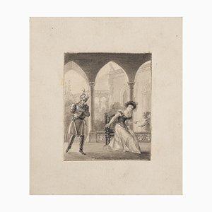 Gallant Scene, 19th Century, Pencil Drawing