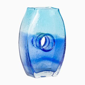 Transparent Blue Murano Glass Flowers Vase, Italy, 1970s