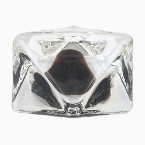 Vintage Glass Triangular Ashtray, Italy, 1970s