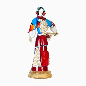 Murano Glass Sculpture of Woman in Traditional Dresses, 1980s