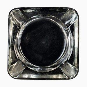 Vintage Glass Transparent Ashtray, Italy, 1970s