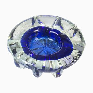 Vintage Cobalt Blue Glass Ashtray, Italy, 1970s