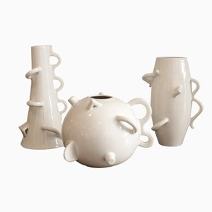 Dealbata Ceramic Vases by Alessandro Mendini for Zanotta, Set of 3