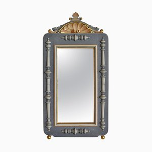 Historicism Wall Mirror in Polychrome and Gold Paint, 19th Century