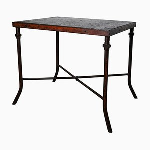 Heavy Steel Industrial Workshop Table, 1950s