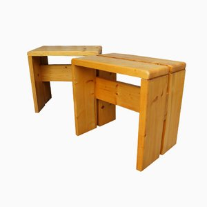 Wooden Stools by Charlotte Perriand from the Ski Resort Les Arcs, Set of 2
