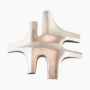 Modernist Brooch in Sterling Silver by Georg Jensen, 1940s