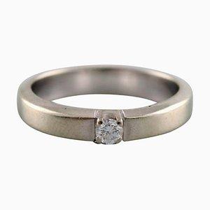 Dänischer Ring aus 14 Karat Weißgold mit Brillant 0,10 Carat