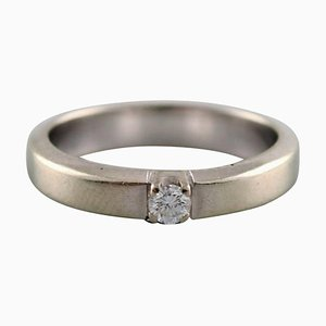 Danish Ring in 14 Carat White Gold with Brilliant of 0.10 Carat