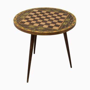 Vintage Round Side Table with Chess Pattern, Albania, 1970s