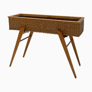 Mid-Century Wicker and Beech Plant Stand, 1960s